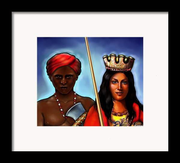 Chango And Saint Barbara Together Framed Print By Carmen Cordova