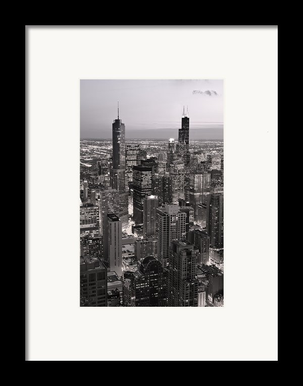 Chicago Loop Sundown B And W Framed Print By Steve Gadomski