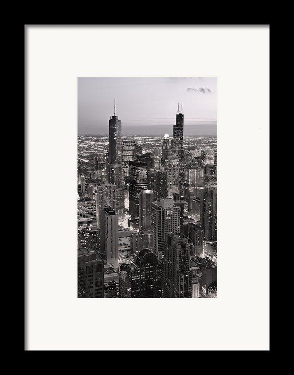 Chicago Loop Sundown B And W Framed Print By Steve Gadomski