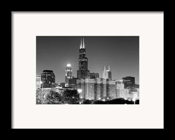 Chicago Night Skyline In Black And White Framed Print By Paul Velgos