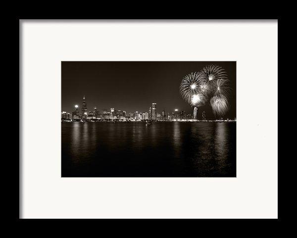 Chicago Skyline Fireworks Bw Framed Print By Steve Gadomski