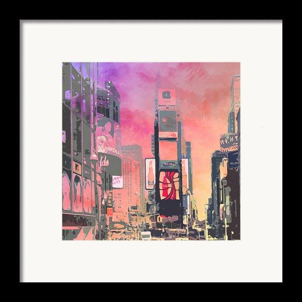 City-art Ny Times Square Framed Print By Melanie Viola