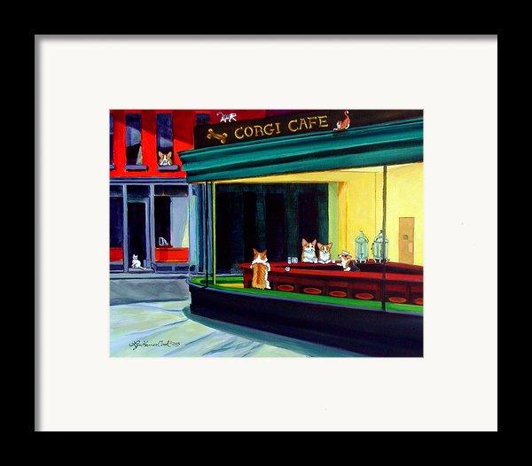 Corgi Cafe After Hopper Framed Print By Lyn Cook