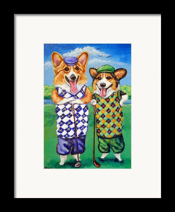 Corgi Golfers Pembroke Welsh Corgi Framed Print By Lyn Cook