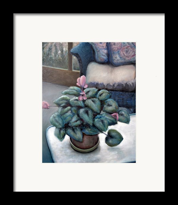 Cyclamen And Wicker Framed Print By Michelle Calkins