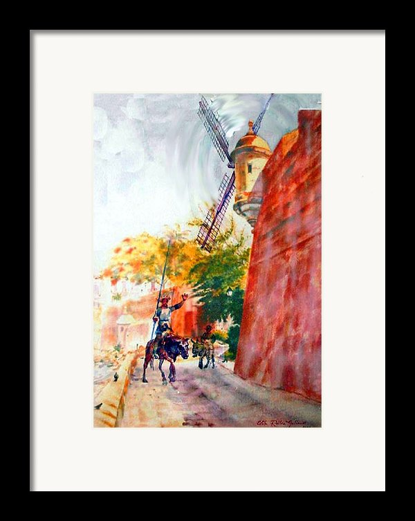 Don Quixote In San Juan Framed Print By Estela Robles