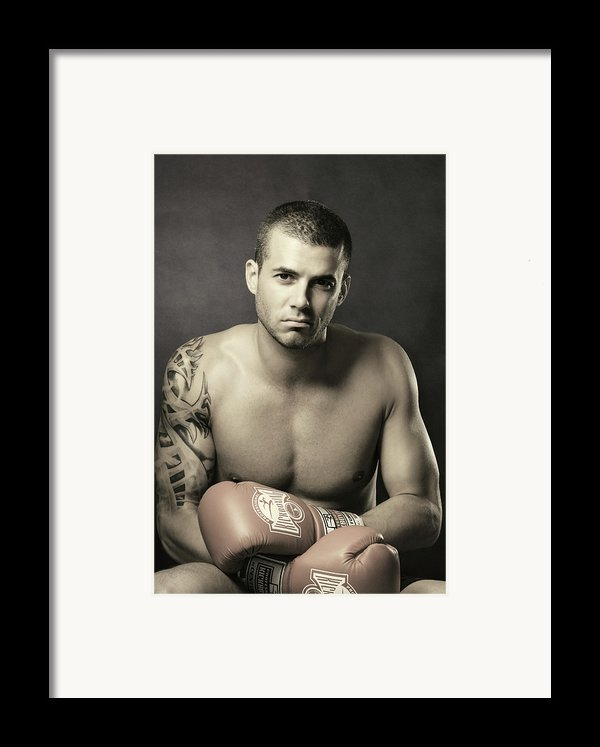 Dramatic Portrait Of A Kickboxer Framed Print By Oleksiy Maksymenko