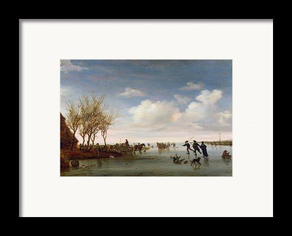 Dutch Landscape With Skaters Framed Print By Salomon Van Ruysdael