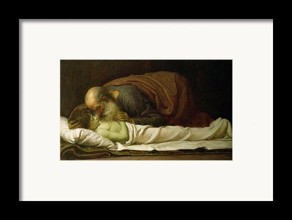 Elisha Raising The Son Of The Shunamite Framed Print By Frederic Leighton