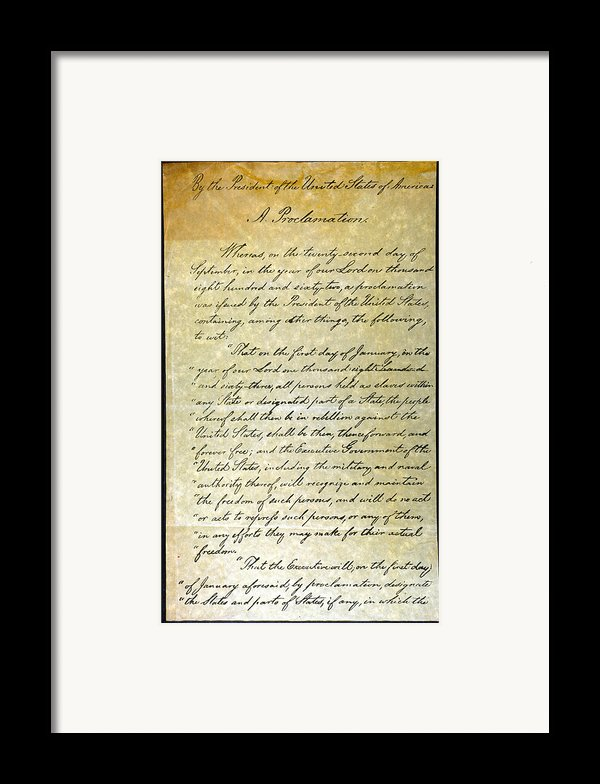 Emancipation Proc., P. 1 Framed Print By Granger