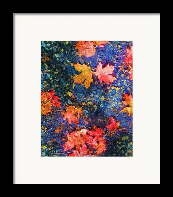 Falling Blue Leave Framed Print By Marilyn Sholin