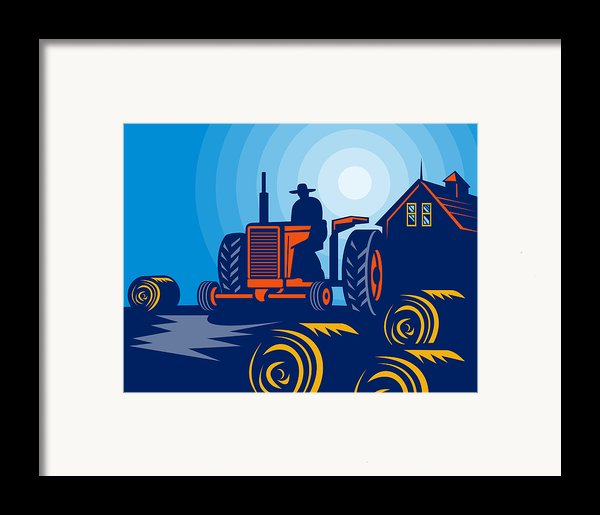 Farmer Driving Vintage Tractor Framed Print By Aloysius Patrimonio