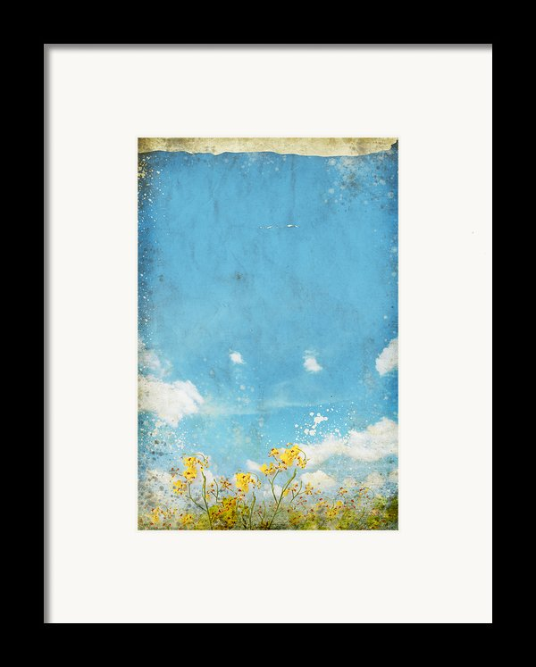 Floral In Blue Sky And Cloud Framed Print By Setsiri Silapasuwanchai
