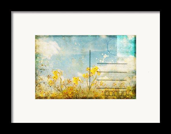 Floral In Blue Sky Postcard Framed Print By Setsiri Silapasuwanchai