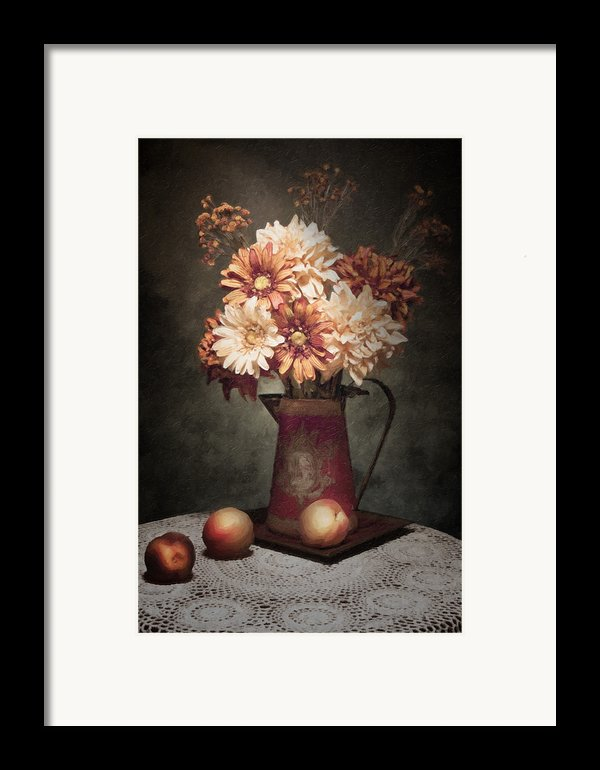 Flowers With Peaches Still Life Framed Print By Tom Mc Nemar