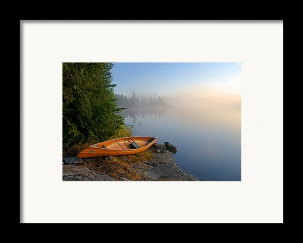 Foggy Morning On Spice Lake Framed Print By Larry Ricker