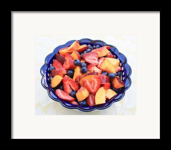 Fruit Salad In Blue Bowl Framed Print By Carol Groenen