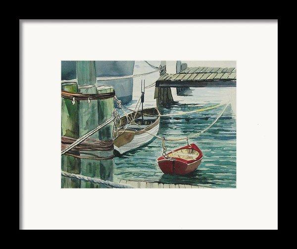 Galveston Boats Watercolor Framed Print By Judy Loper