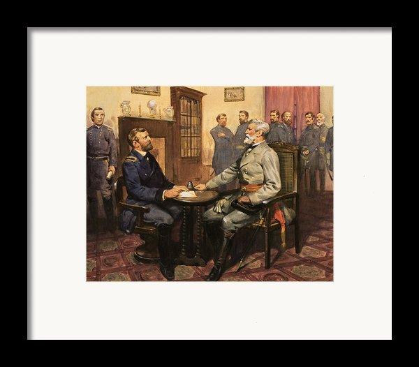 General Grant Meets Robert E Lee  Framed Print By English School