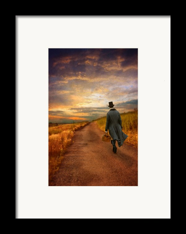 Gentleman Walking On Rural Road Framed Print By Jill Battaglia