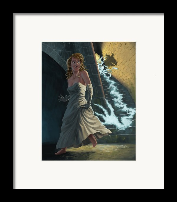 Ghost Chasing Princess In Dark Dungeon Framed Print By Martin Davey