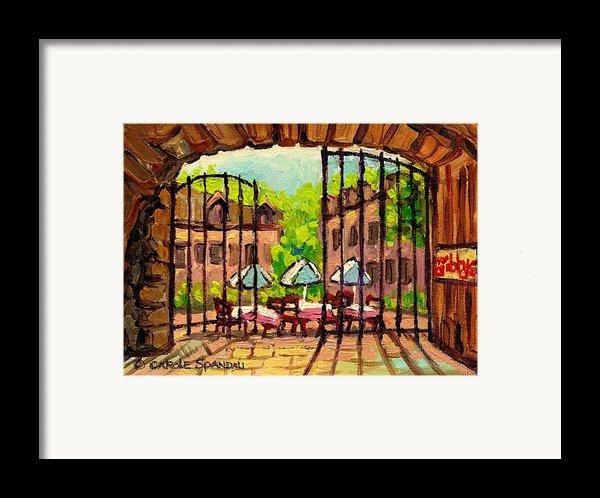 Gibbys Restaurant In Old Montreal Framed Print By Carole Spandau