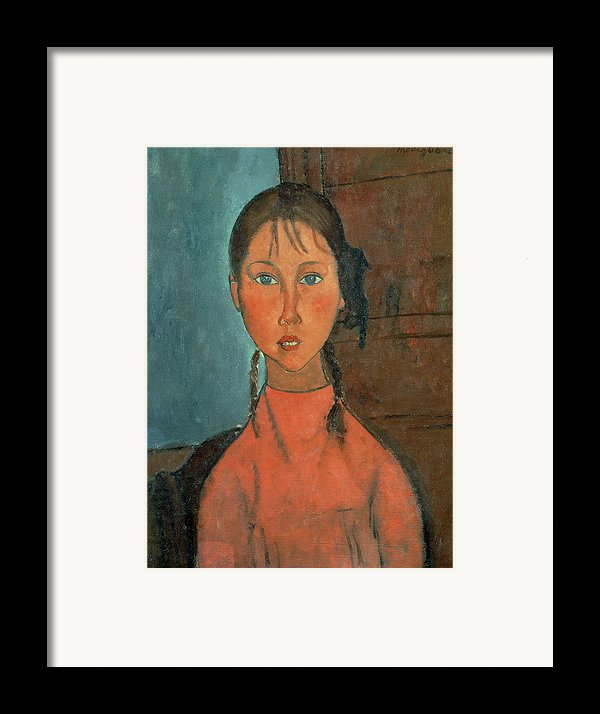Girl With Pigtails Framed Print By Amedeo Modigliani