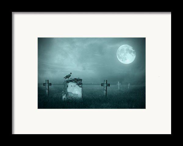 Gravestones In Moonlight Framed Print By Jaroslaw Grudzinski