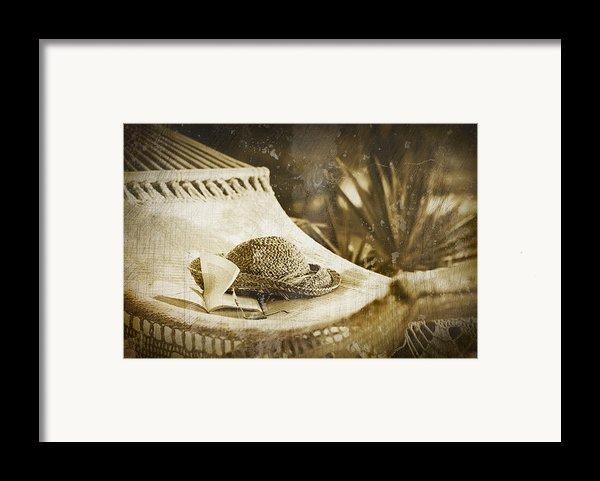 Grunge Photo Of Hammock And Book Framed Print By Sandra Cunningham
