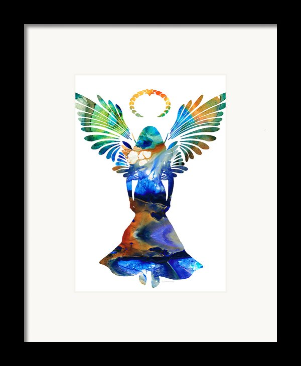 Healing Angel - Spiritual Art Painting Framed Print By Sharon Cummings