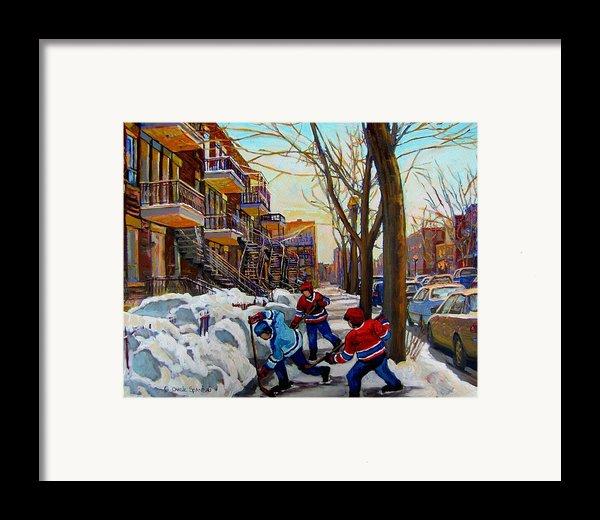 Hockey On De Bullion  Framed Print By Carole Spandau