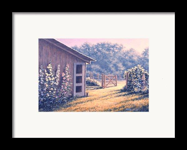 Holly Hocks Framed Print By Richard De Wolfe