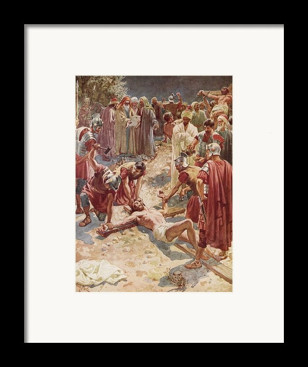 Jesus Being Crucified Framed Print By William Brassey Hole