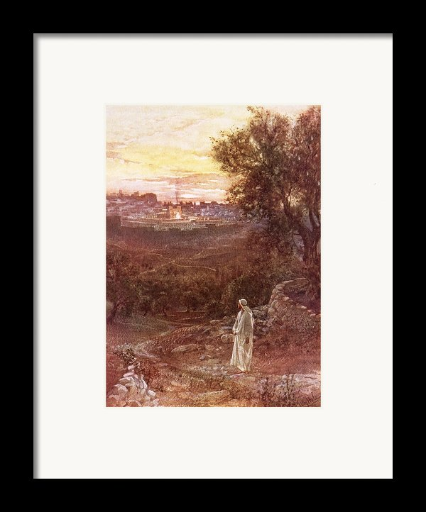 Jesus On The Mount Of Olives Framed Print By William Brassey Hole