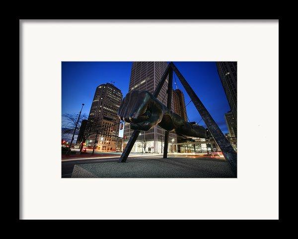 Joe Louis Fist Statue Jefferson And Woodward Ave. Detroit Michigan Framed Print By Gordon Dean Ii