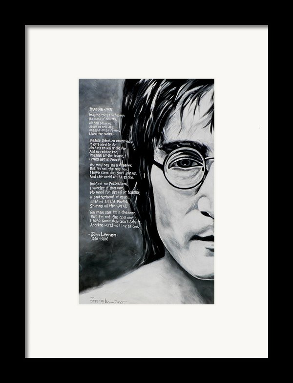 John Lennon - Imagine Framed Print By Eddie Lim