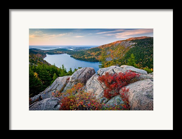 Jordan Pond Sunrise  Framed Print By Susan Cole Kelly