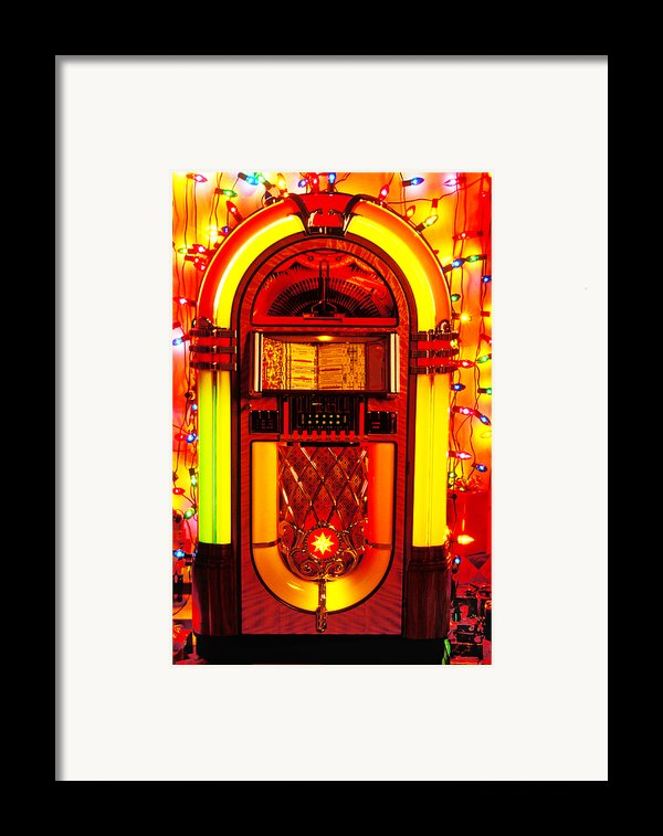 Juke Box With Christmas Lights Framed Print By Garry Gay
