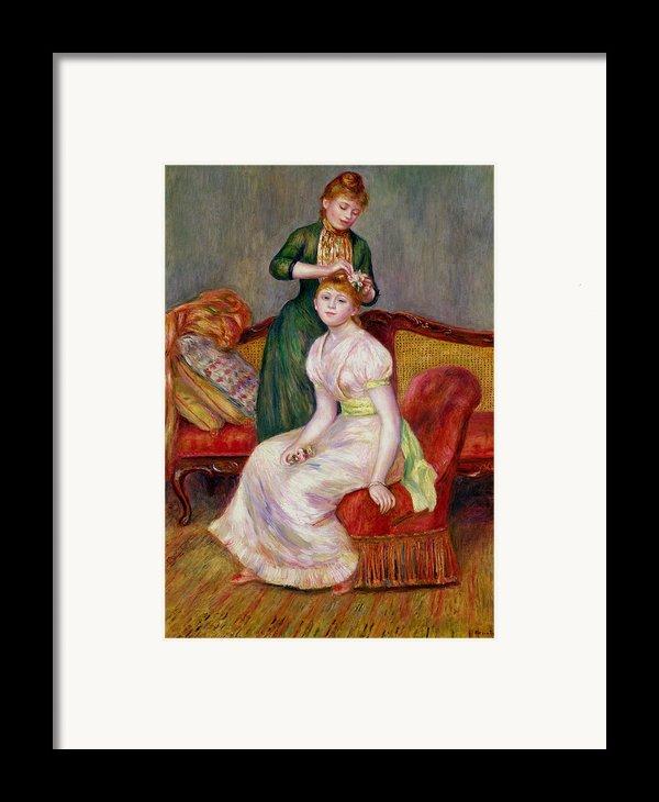 La Coiffure Framed Print By Renoir