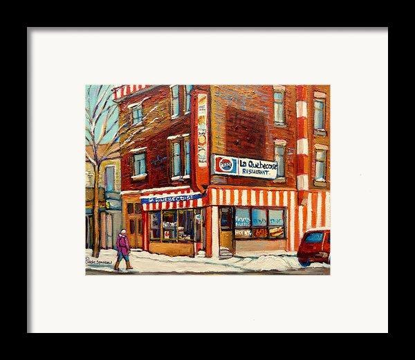 La Quebecoise Restaurant Deli Framed Print By Carole Spandau