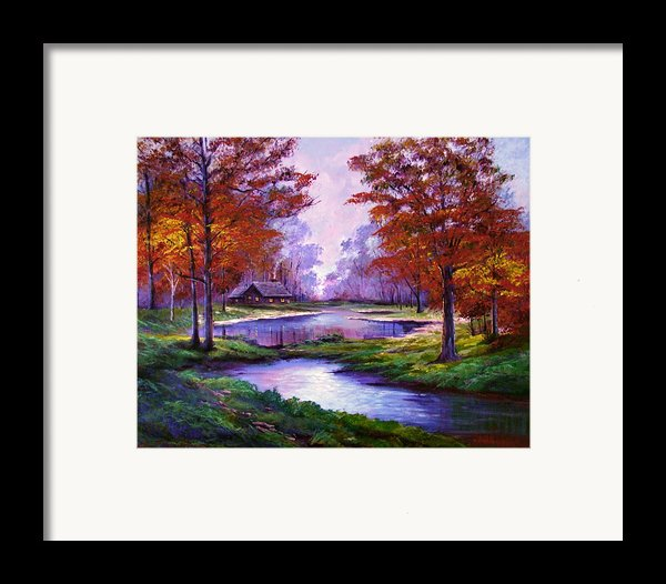 Lakeside Cabin Framed Print By David Lloyd Glover