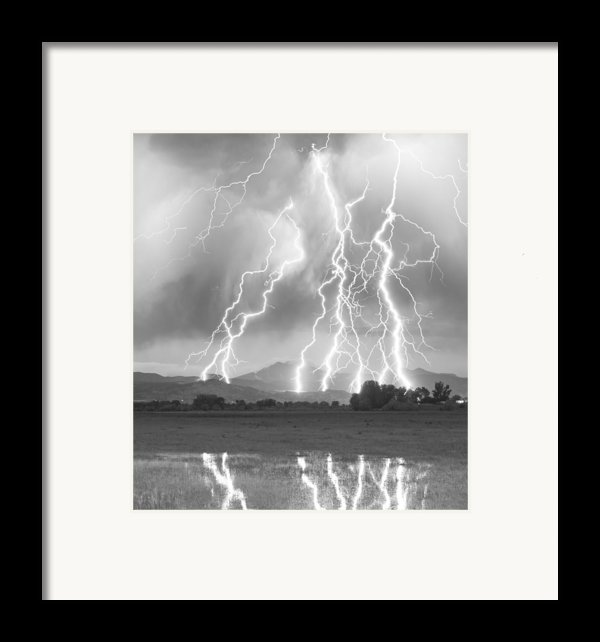 Lightning Striking Longs Peak Foothills 4cbw Framed Print By James Bo  Insogna