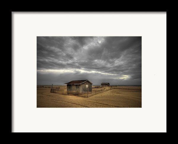 Lonely Beach Shacks Framed Print By Evelina Kremsdorf