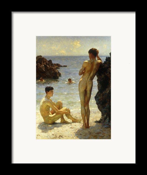 Lovers Of The Sun Framed Print By Henry Scott Tuke