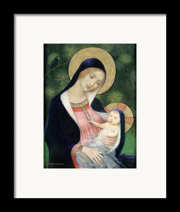 Madonna Of The Fir Tree Framed Print By Marianne Stokes
