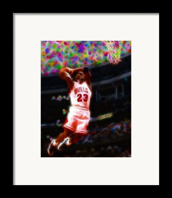 Magical Michael Jordan White Jersey Framed Print By Paul Van Scott