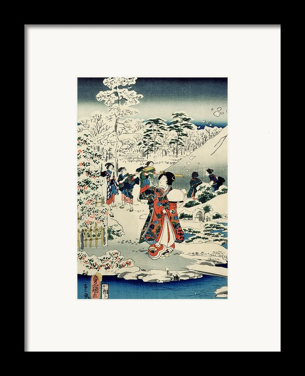 Maids In A Snow Covered Garden Framed Print By Hiroshige