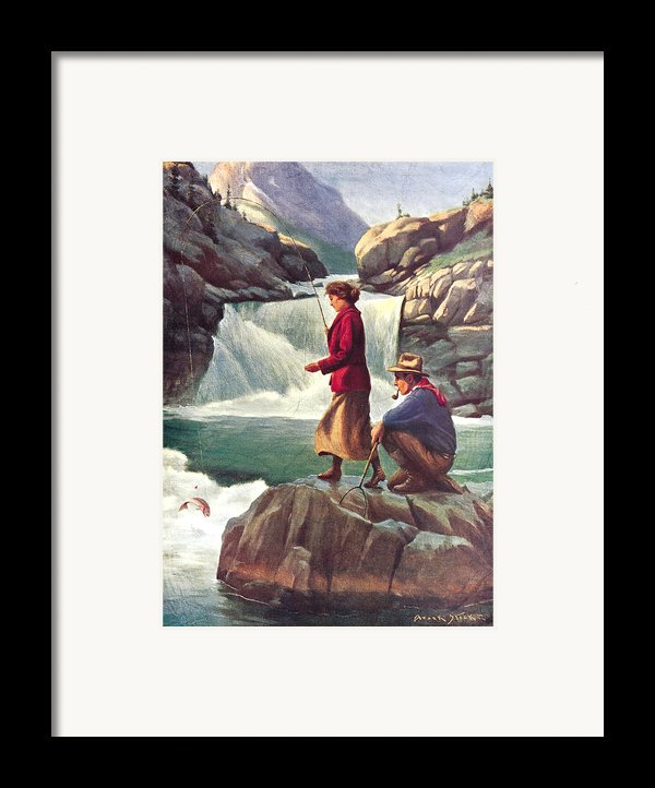 Man And Woman Fishing Framed Print By Jq Licensing