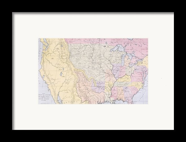 Map Showing The Localities Of The Indian Tribes Of The Us In 1833 Framed Print By Thomas L Mckenney And James Hall