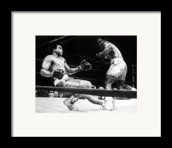 Muhammad Ali Knocked Down By Joe Framed Print By Everett